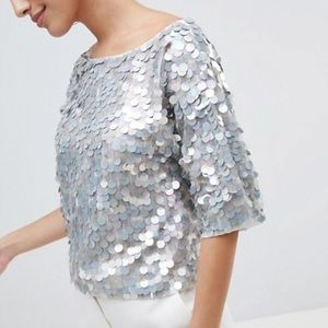 ASOS Mesh Blouse with payette large disc sequins